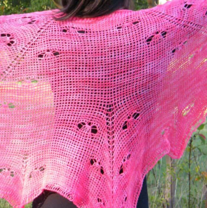 Mariposa Lace Shawl Free Tunisian Crochet Pattern by Crochet Kim