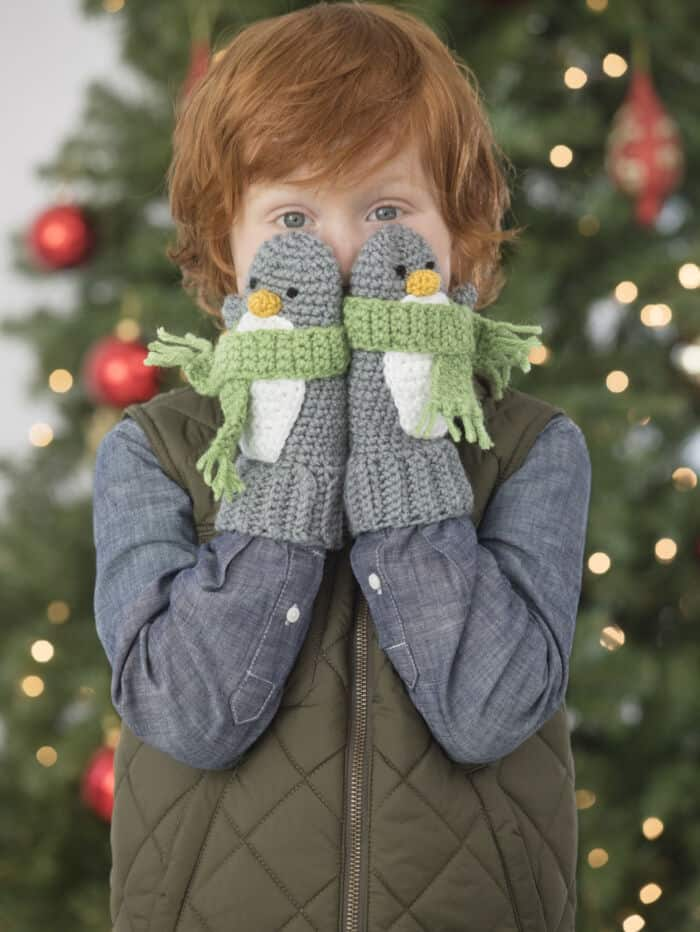Penguin Mittens by Lion Brand Yarn