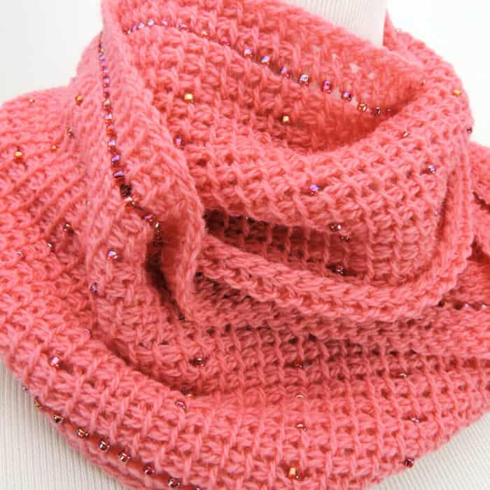 Pink Fantasy Infinity Scarf Free Tunisian Crochet Pattern by Crochet Kim