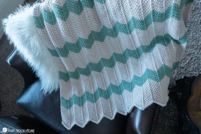 Tunisian Chevron Crochet Baby Blanket Pattern by Heart Hook Home