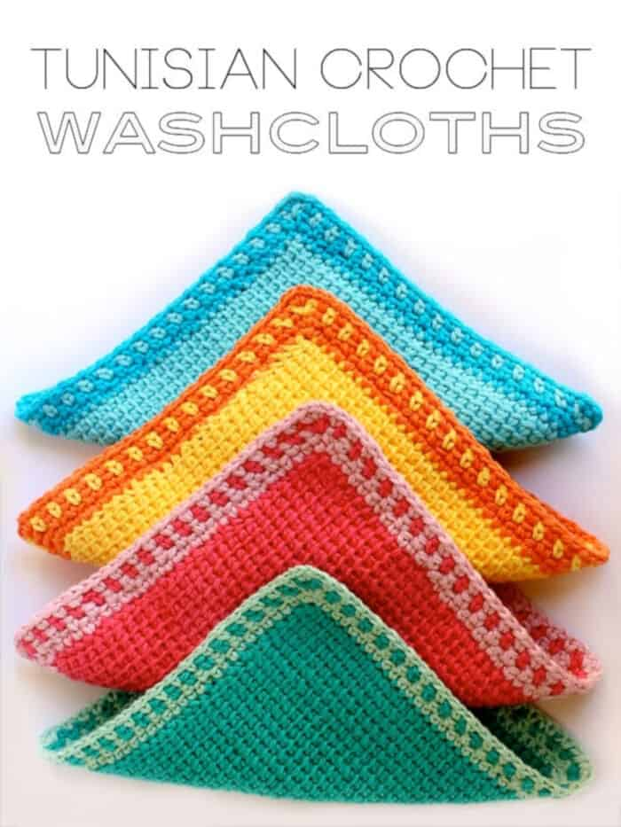 Tunisian Crochet Washcloths by My Poppet Makes