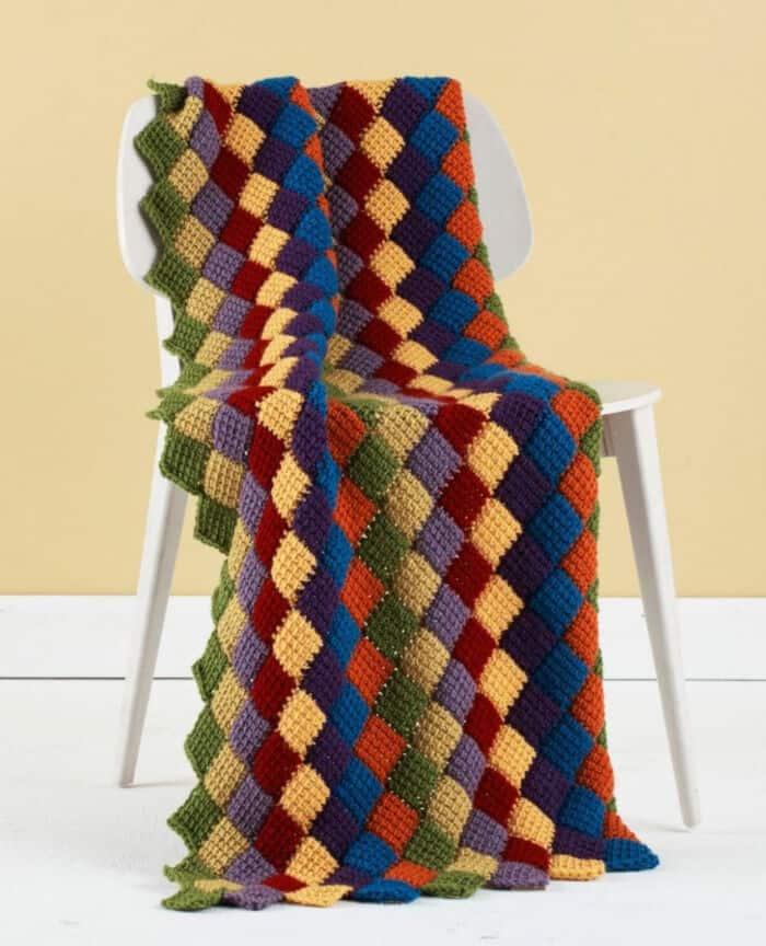 Tunisian Entrelac Throw by All Free Crochet