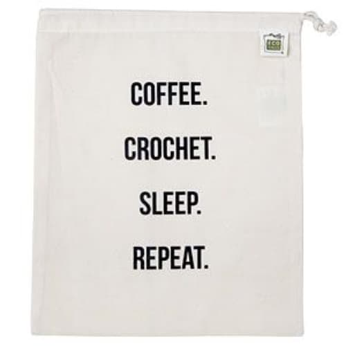 Coffee Crochet Sleep Repeat Project bag