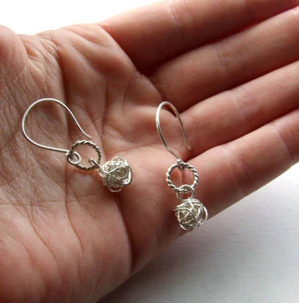 Silver Hoop Yarn Ball Earrings by Dream Sprial Art on Etsy