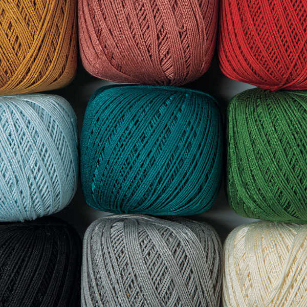 Curio #3 mercerized 100% cotton, 2-ply #3 crochet thread.
