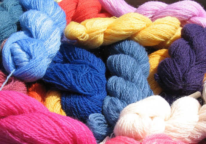 multi colored hand dyed yarns