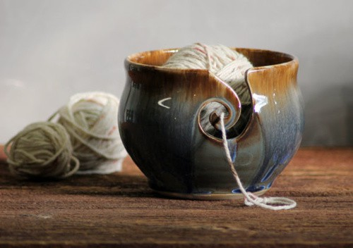 Yarn bowl hand thrown stoneware