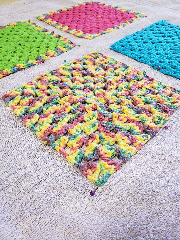 Pinning to help straighten the edges when blocking crochet