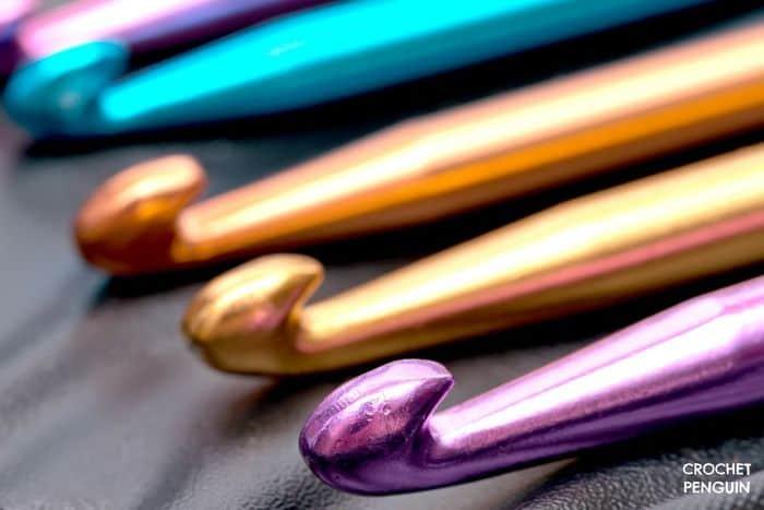 Boye Aluminum Crochet Hooks in purple gold and blue