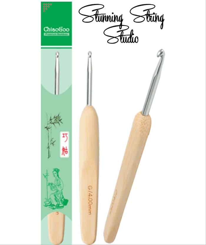 Chiaogoo Metal and Bamboo Ergonomic Crochet Hooks at Stunning String Studio