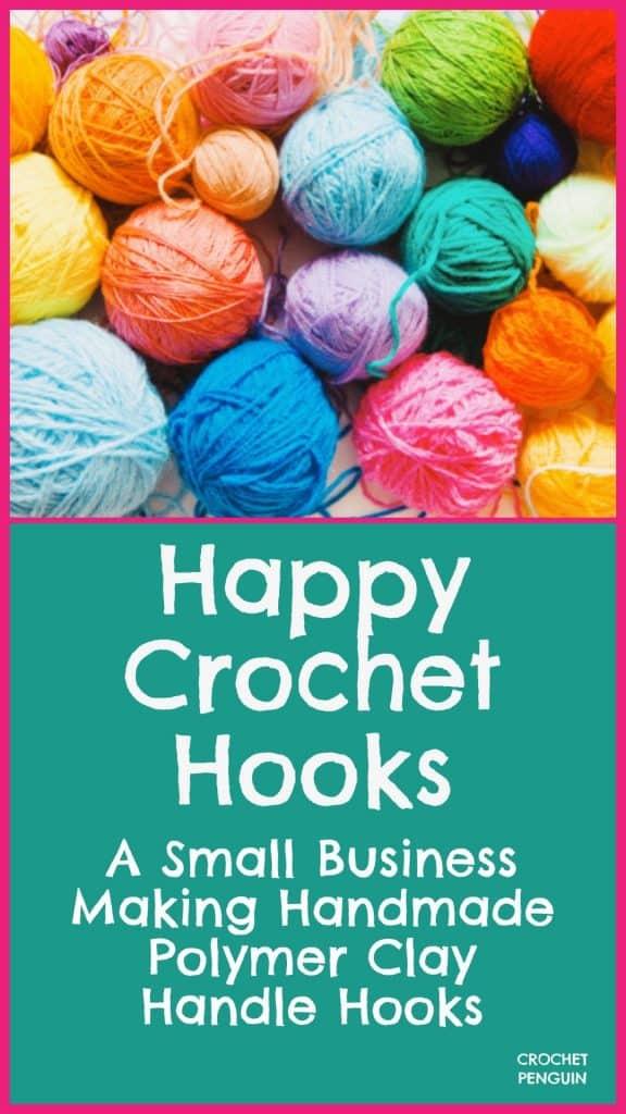 Happy Crochet Hooks Pin