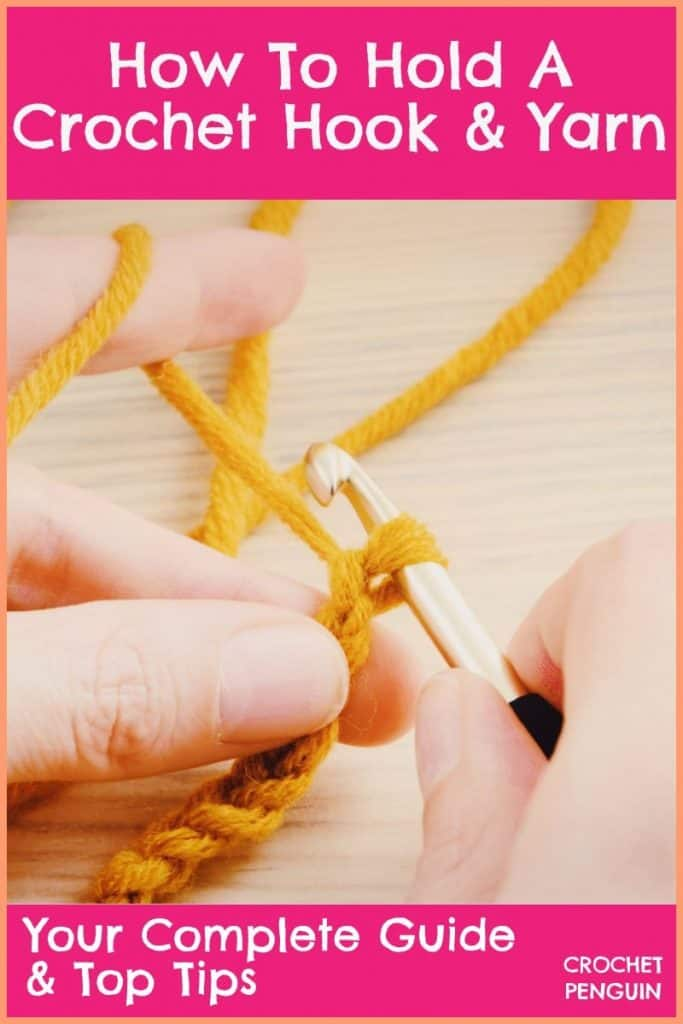 How To Hold A Crochet Hook & Yarn Pin
