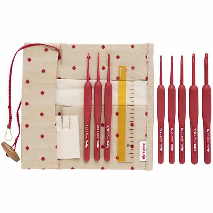 Tulip Etimo Red Crochet Hook Set at CraftsByKFRod