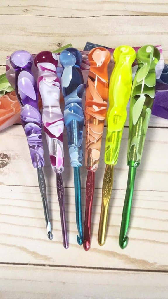 Waters Crochet Hook Set My Darn Yarn Etsy Store - colorful acrylic handles on Susan Bates hooks
