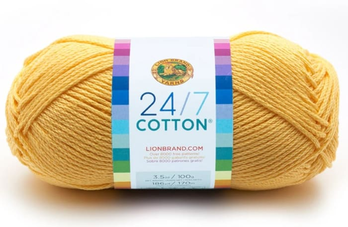Lion Brand 24/7 Cotton Yarn in buttercup yellow