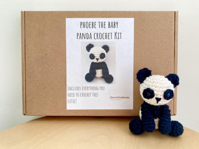 TeenyTinyKnits Panda Amigurumi Kit Everything you need to make a little crocheted Panda