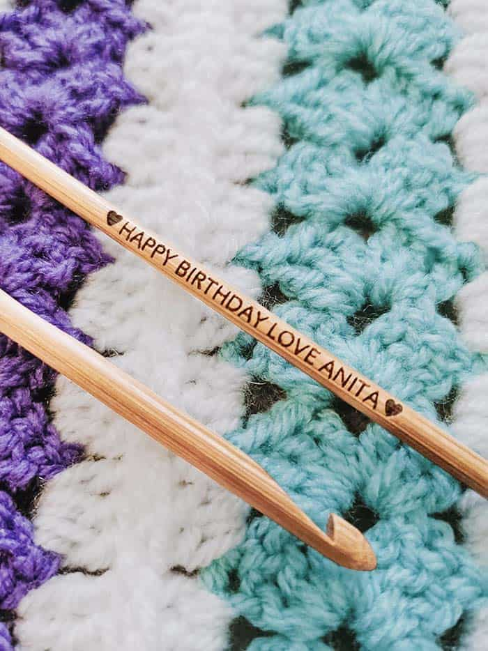 Bamboo Personalized Crochet Hook from TheCraftyCoupleLtd Etsy Store