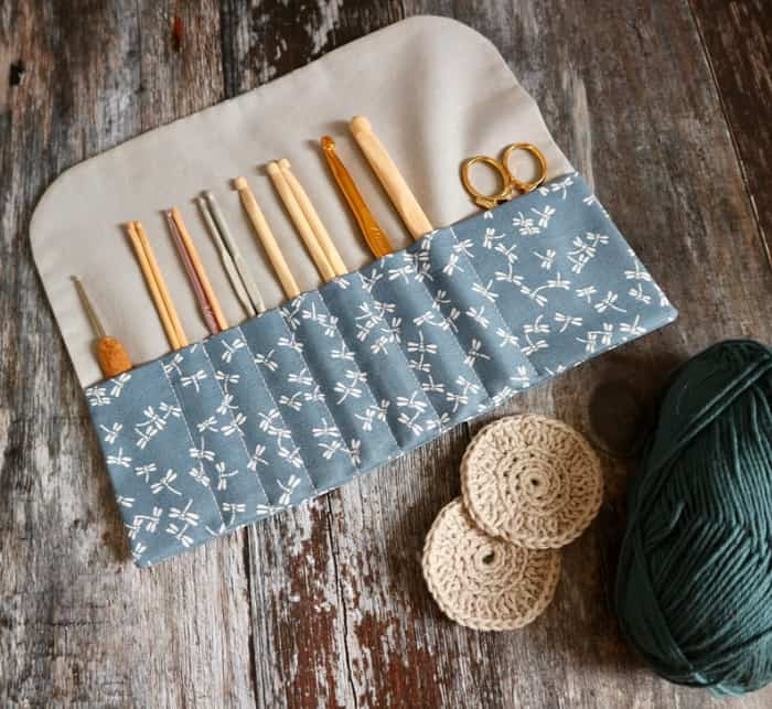 Blue Dragonfiles Crochet Hook Roll by Simply Wishes Etsy Store