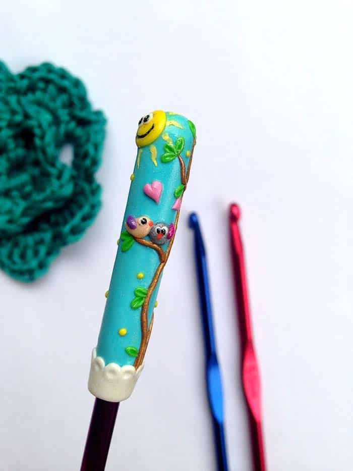 Love Birds Polymer Clay Crochet hook from RadArtaDesign Etsy store