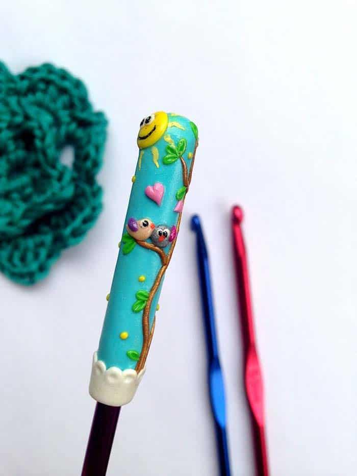 Love Birds Polymer Clay Crochet hook from RadArtaDesign Etsy store