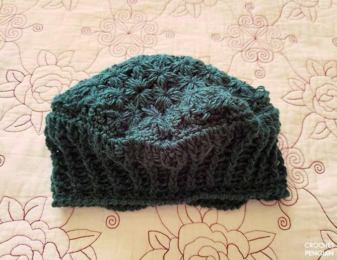 Finished Star Burst beret but unblocked