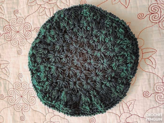 Starburst Beret crochted me in forest green yarn. Pattern by Brittany of BHooked Crochet.