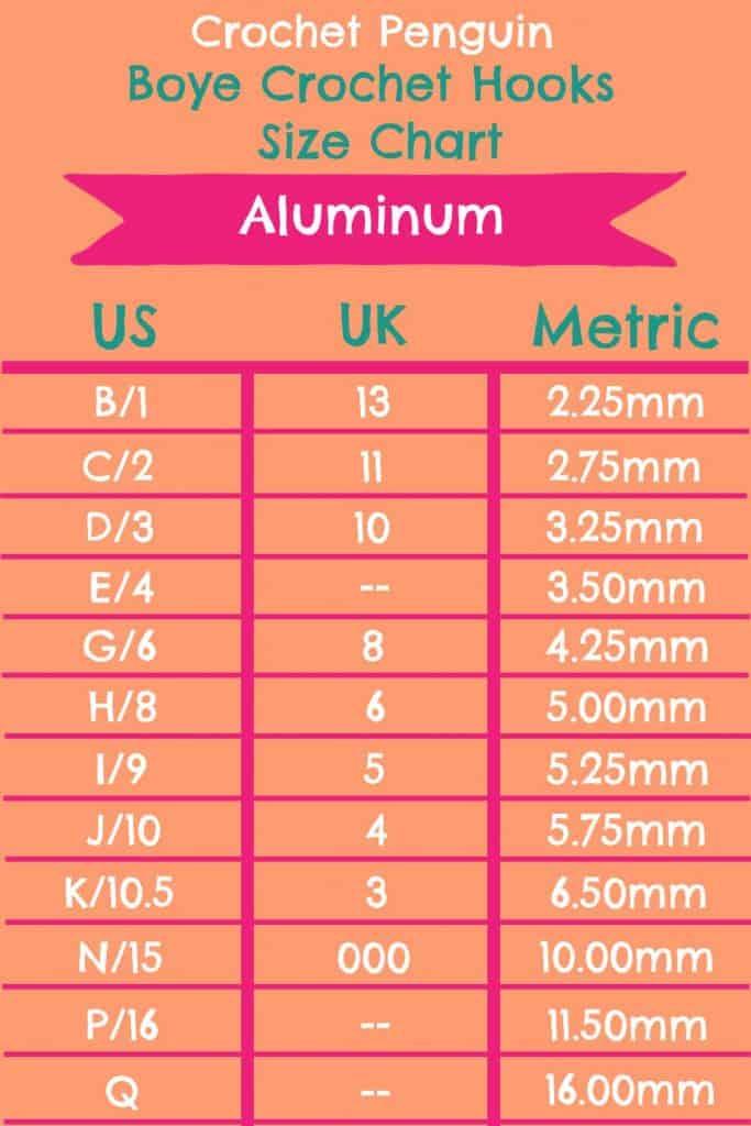 Boye Aluminum Crochet Hooks Size Chart