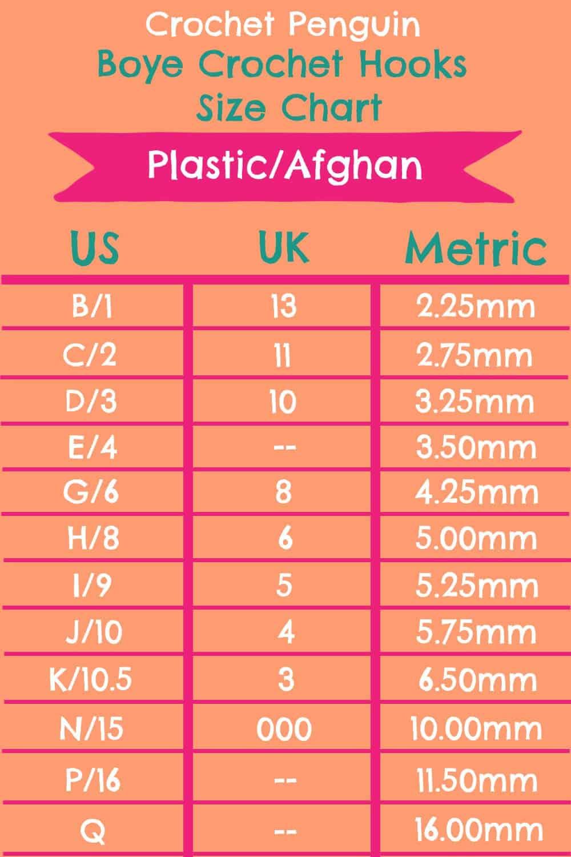 Boye Plastic Afghan Crochet Hooks Size Chart