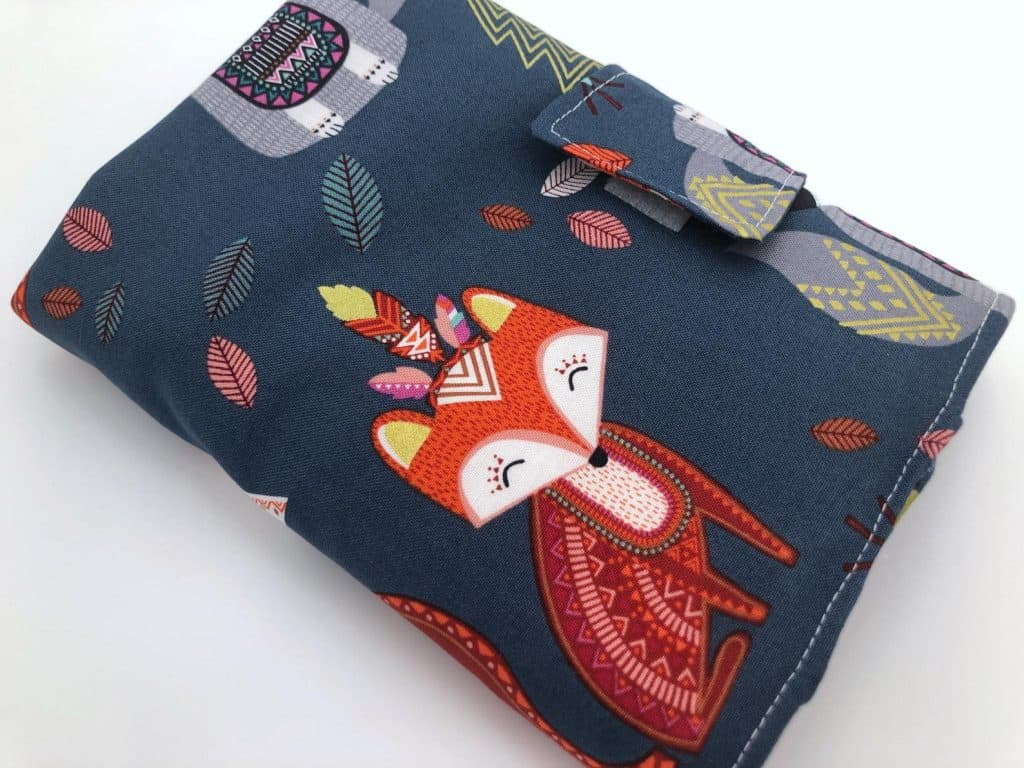 EcoHipCustomDesigns Fabric Crochet Hook Roll with a cartoon fox and autumn leaves design.