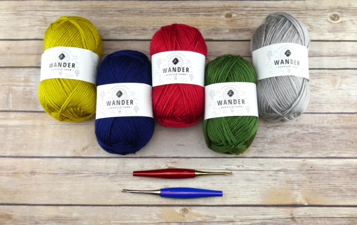 Furls Crochet Awaken Palette Pack in grey, green, lime green, navy blue and red yarns