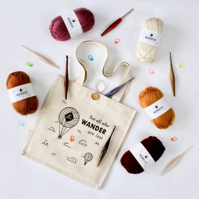All who wander are not lost tote and Autumn Palette Wander Yarn pack