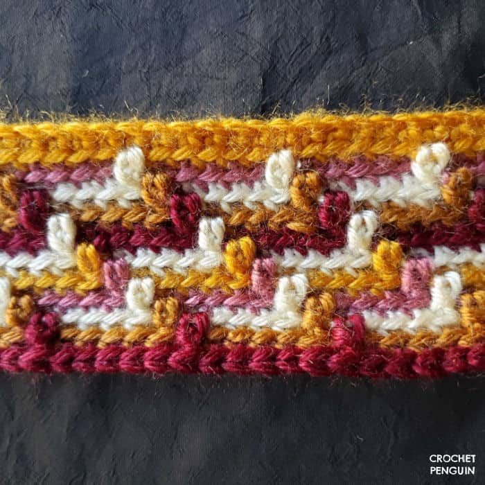 Close up of the Apache tears stitch