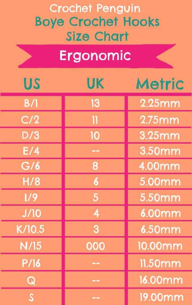 Ergonomic Size Chart