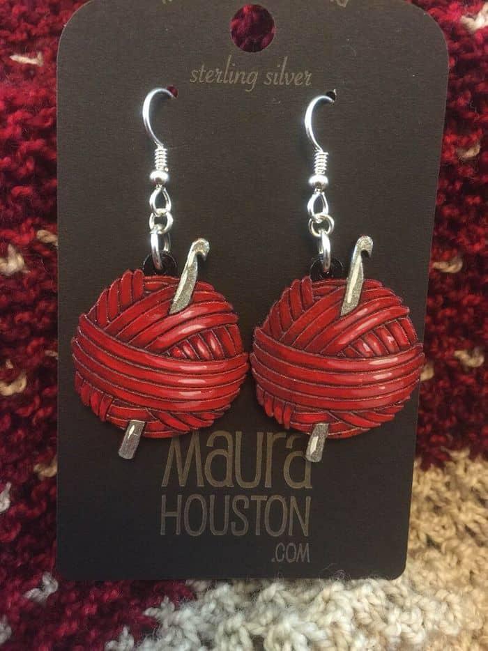 Yarn Ball Wood Earrings